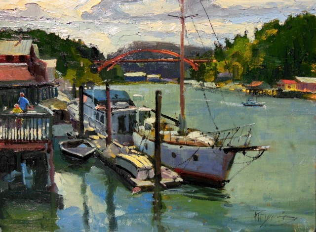 """LaConner Boats  plein air, marine scape, oil painting by Robin Weiss"" original fine art by Robin Weiss"
