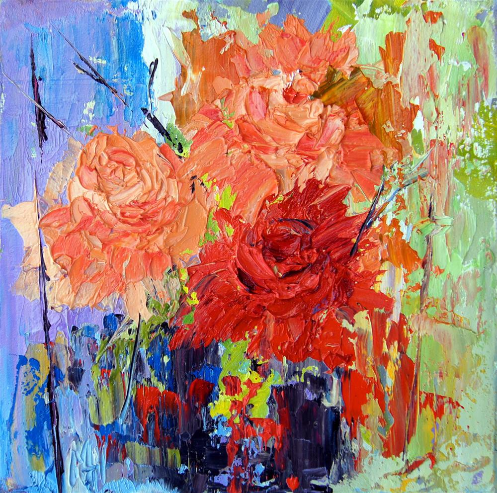 """Rose Trio, abstract flowers"" original fine art by Marion Hedger"