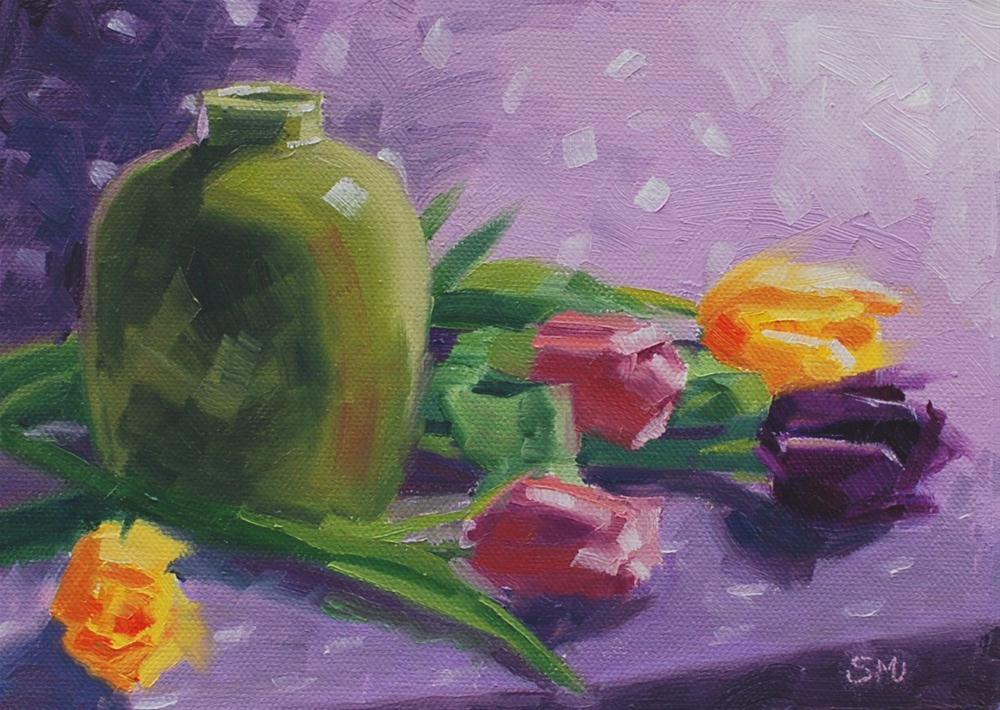 """Tulips and Green Vase"" original fine art by Susan McManamen"