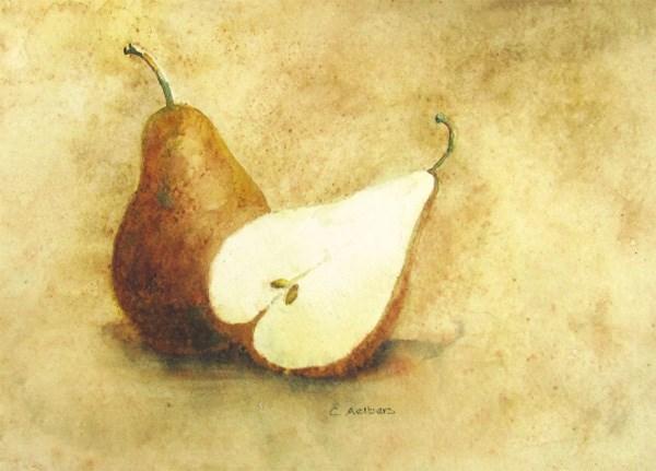 """Half a Pear Study"" original fine art by Corinne Aelbers"