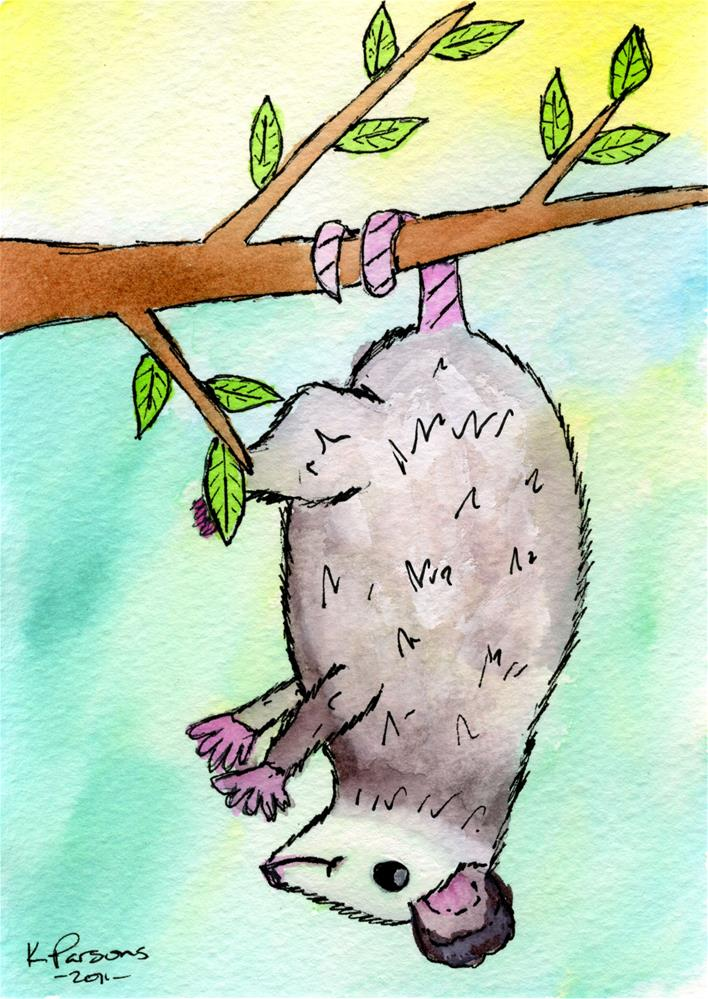 """Dangling Possum"" original fine art by Kali Parsons"