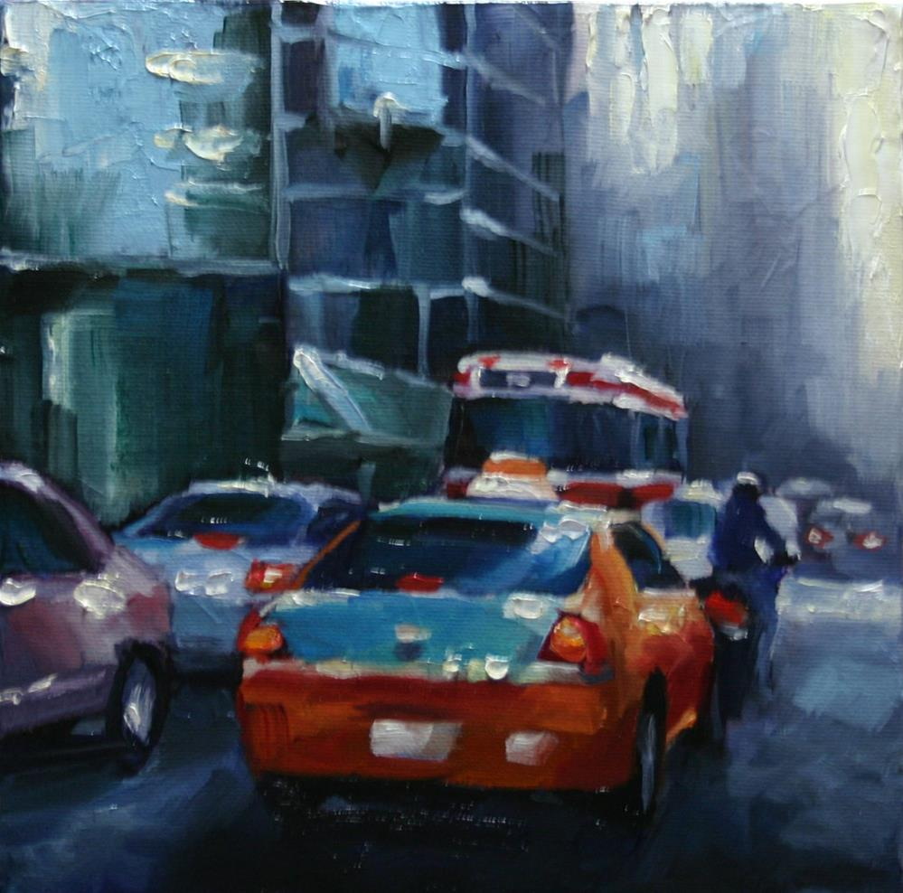 """Late Afternoon Traffic, King Street West"" original fine art by Catherine Jeffrey"
