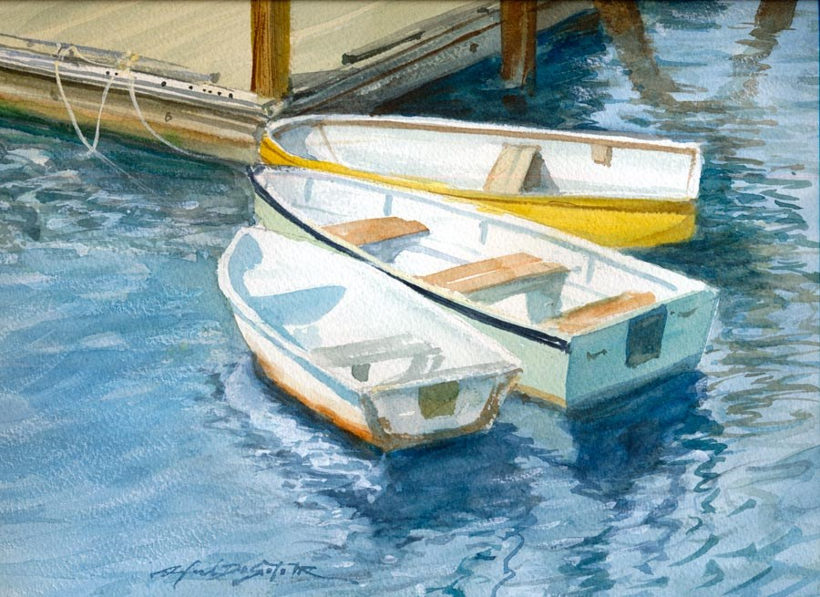 """""""Boats At Dock"""" original fine art by Rafael DeSoto Jr."""