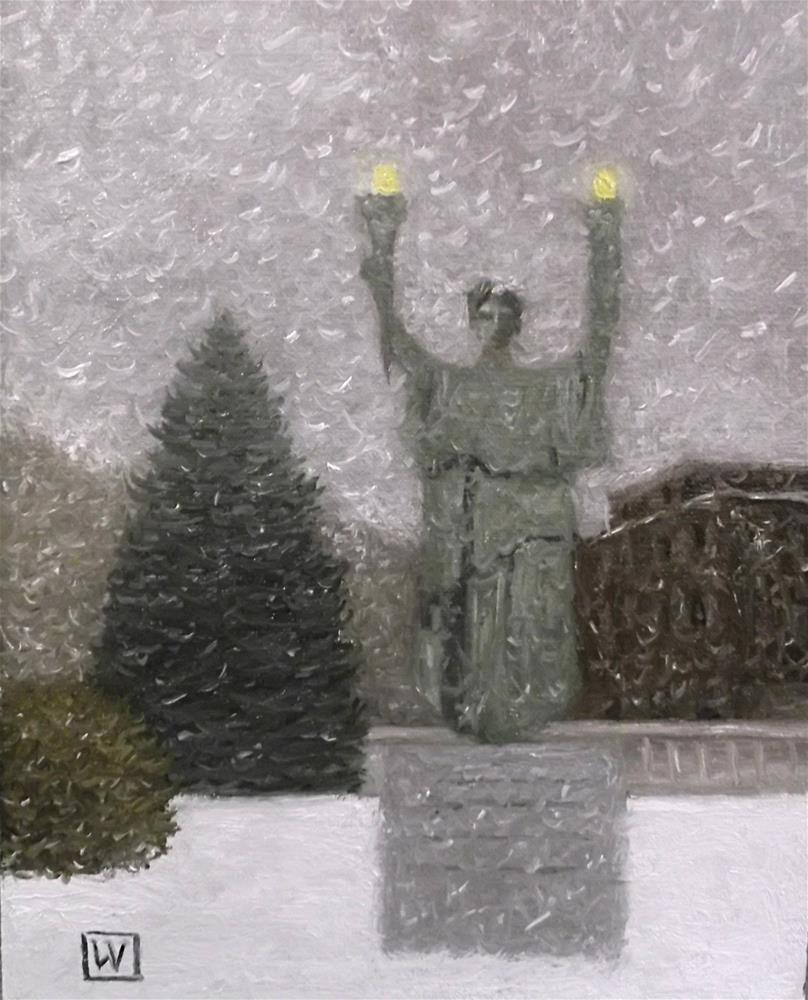 """Winterscape #3 Lady Victory"" original fine art by Joe Wojdakowski"