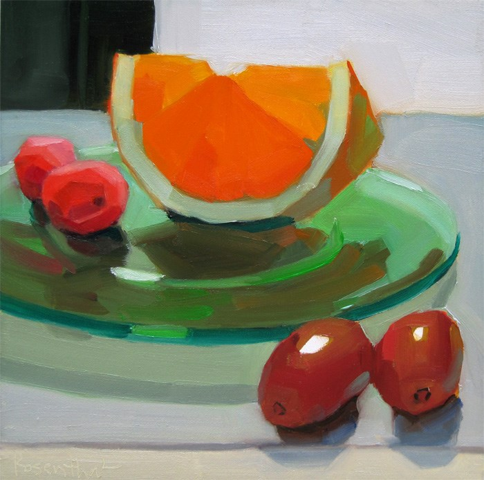 """Green Plate and Fruit"" original fine art by Robin Rosenthal"