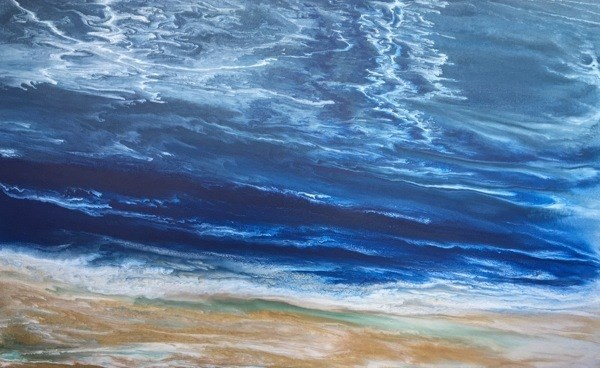 """Abstract Seascape Painting Stormy Days of Summer III by Colorado Contemporary Artist Kimberly Conr"" original fine art by Kimberly Conrad"