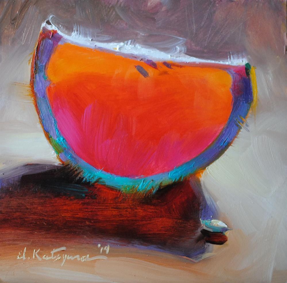 """Rainbow Grapefruit"" original fine art by Elena Katsyura"