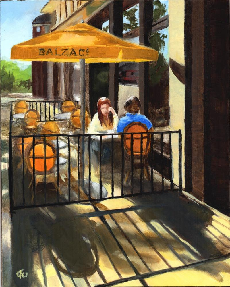 """Morning Coffee at Balzac's"" original fine art by Gary Westlake"