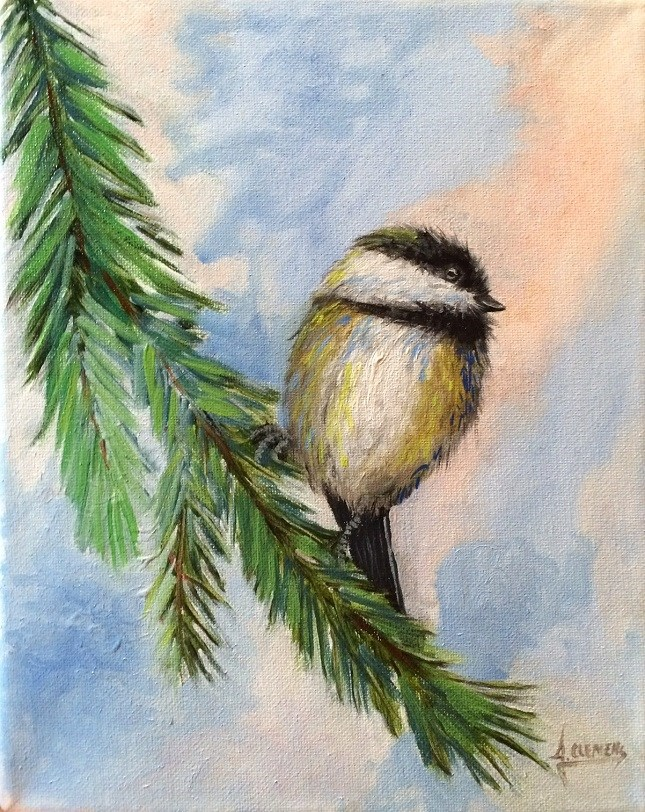 """Chickadee"" original fine art by Jolynn Clemens"