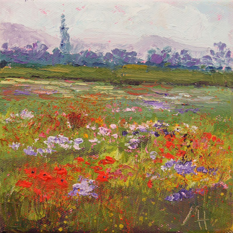 """Field of wildflowers  palette knife painting"" original fine art by Marion Hedger"