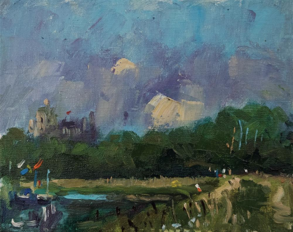 """Arundel Castle with Abstract Clouds"" original fine art by Andre Pallat"
