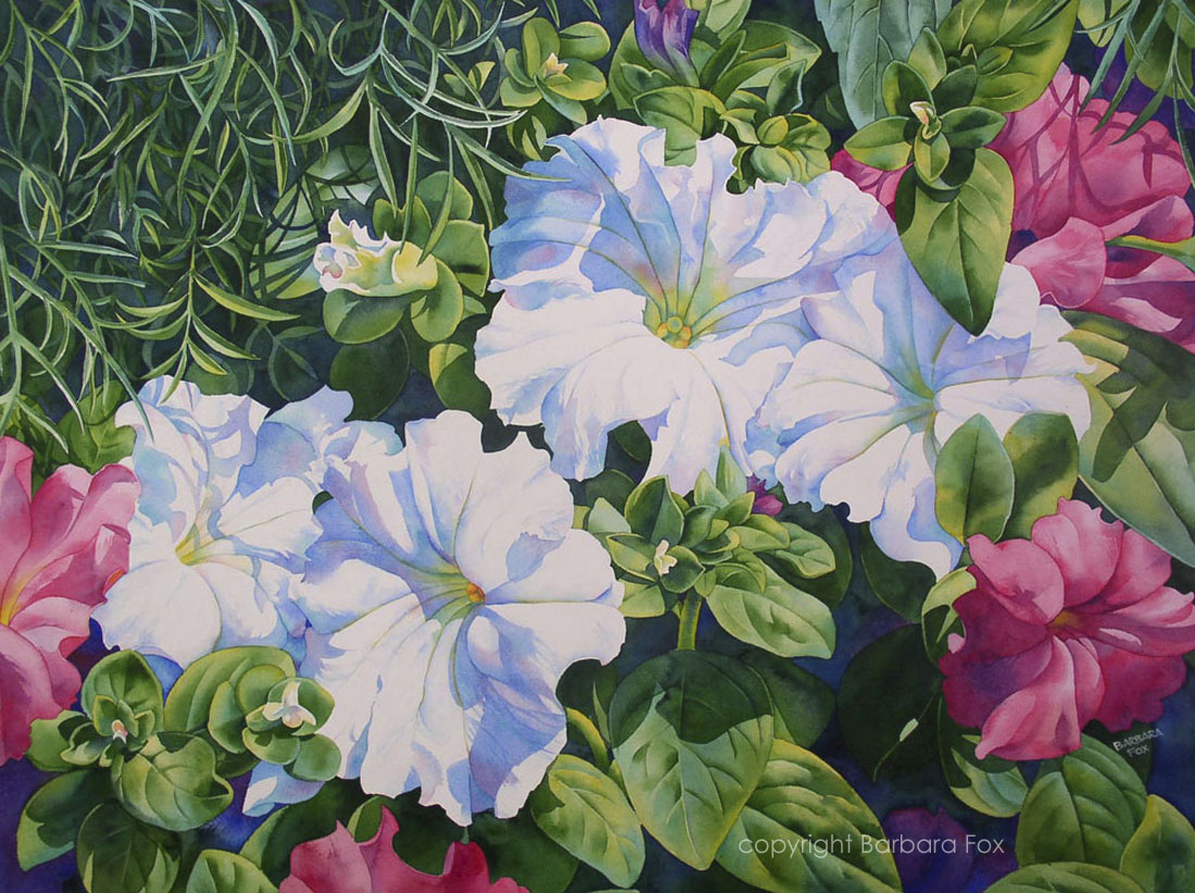 """SUMMER SUN floral petunias watercolor painting"" original fine art by Barbara Fox"