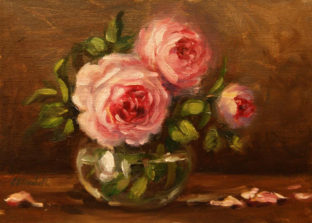 """October Roses in Glass,  Oil on 5x7 Linen Panel"" original fine art by Carolina Elizabeth"
