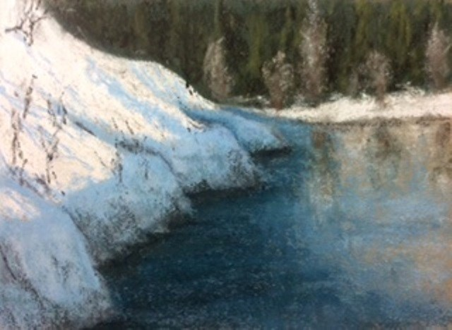 """Snowy Bank"" original fine art by Marti Walker"