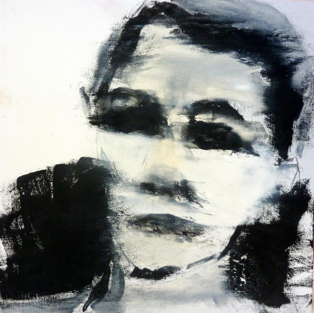 """""""Portrait in schwarz-weiss / portrait in black - white"""" original fine art by Mila Plaickner"""