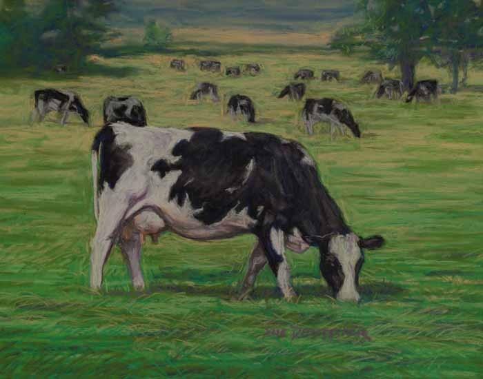 """""""July 4th in the Holstein Cow Pasture"""" original fine art by Sue Deutscher"""