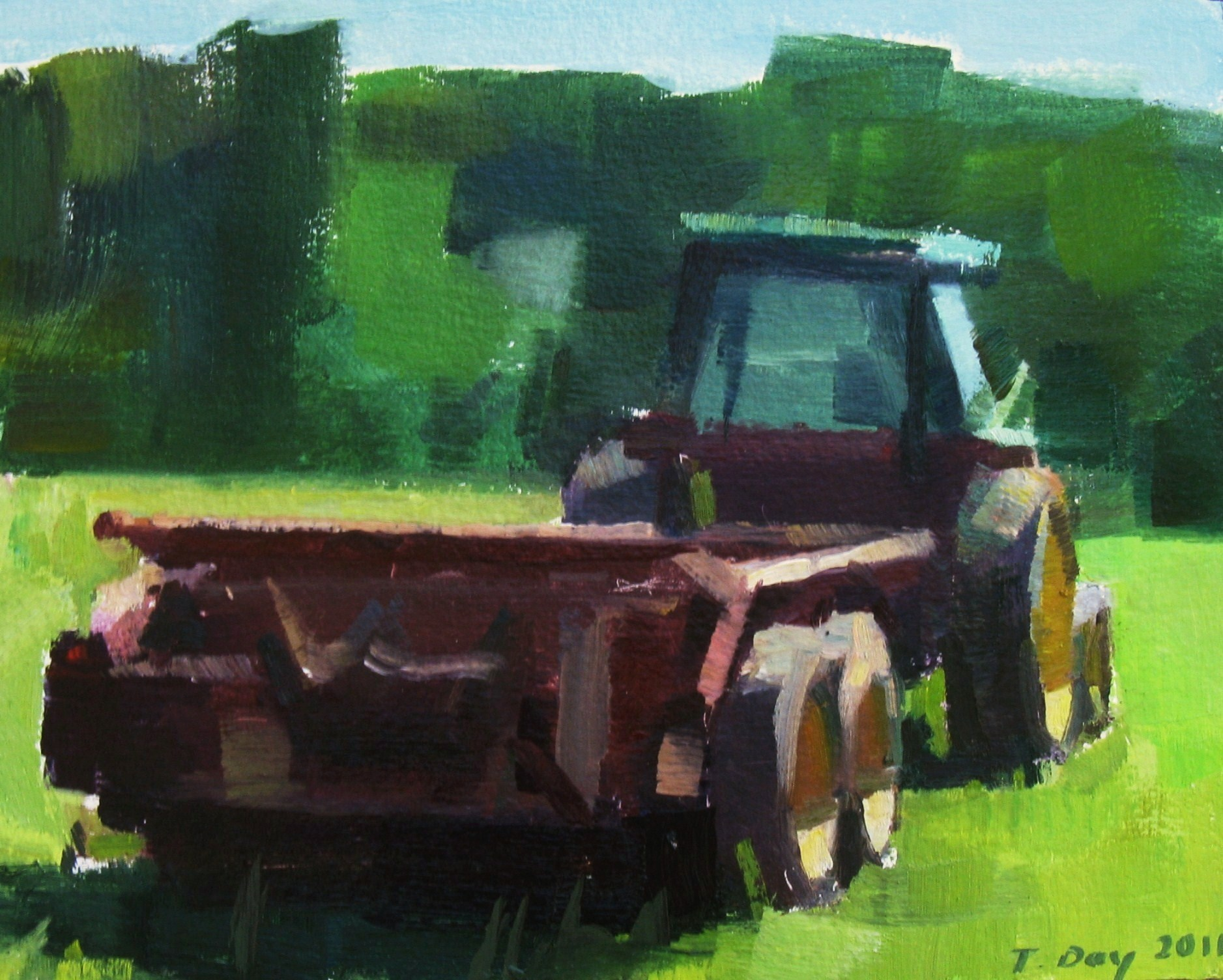 Tractor at Rest original fine art by Taryn Day