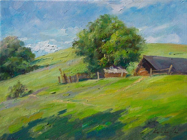 Small cottage original fine art by Kelvin Lei