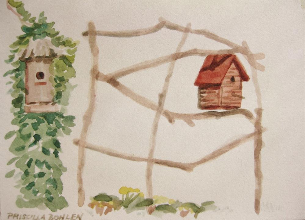 """Bird houses"" original fine art by Priscilla Bohlen"