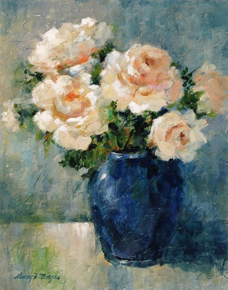 """Plein Aire Roses"" original fine art by Nancy F. Morgan"