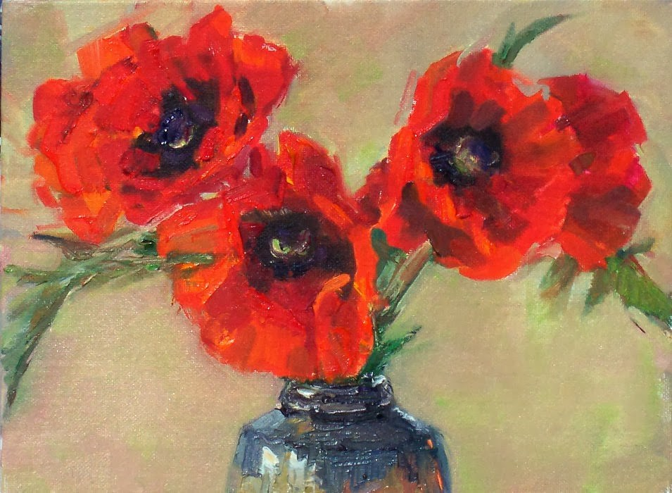 """Poppies,still life,oil on canvas,9x12,price$400"" original fine art by Joy Olney"