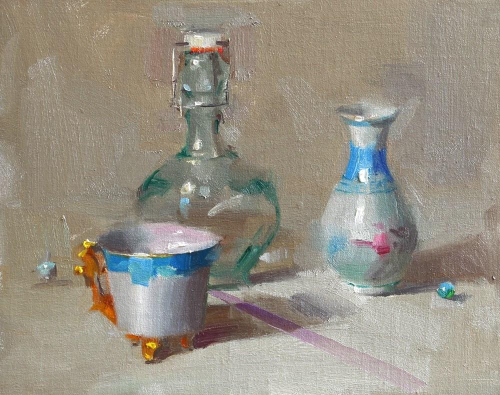 """""""Blue Duet"""" original fine art by Qiang Huang"""