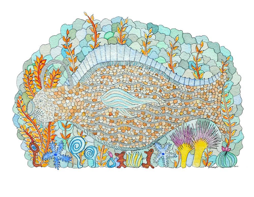 """""""Bottle Fish"""" original fine art by Susan Medyn"""