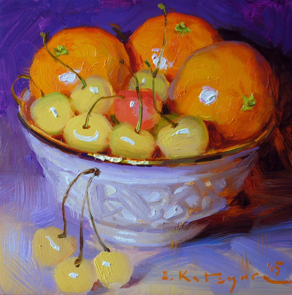 """Golden Cherries and Mandarins"" original fine art by Elena Katsyura"