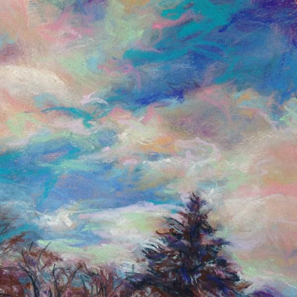 """FLY + A SPRUCE - 6 x 6sky pastel by Susan Roden"" original fine art by Susan Roden"