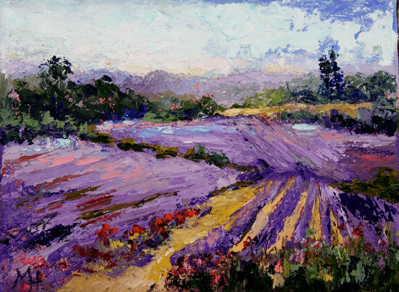 """Gorgeous lavender palette knife painting"" original fine art by Marion Hedger"