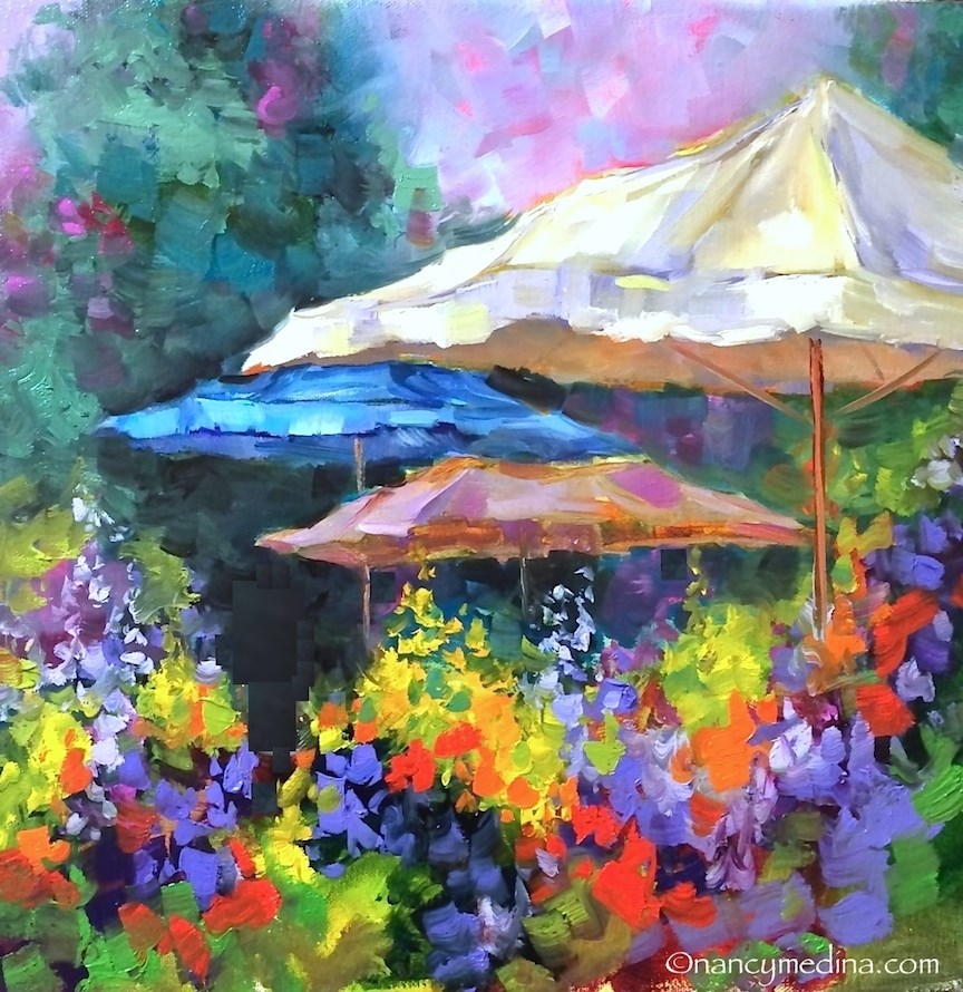 """French Market Flower Quest, a Southern France Workshop - Paintings by Nancy Medina"" original fine art by Nancy Medina"