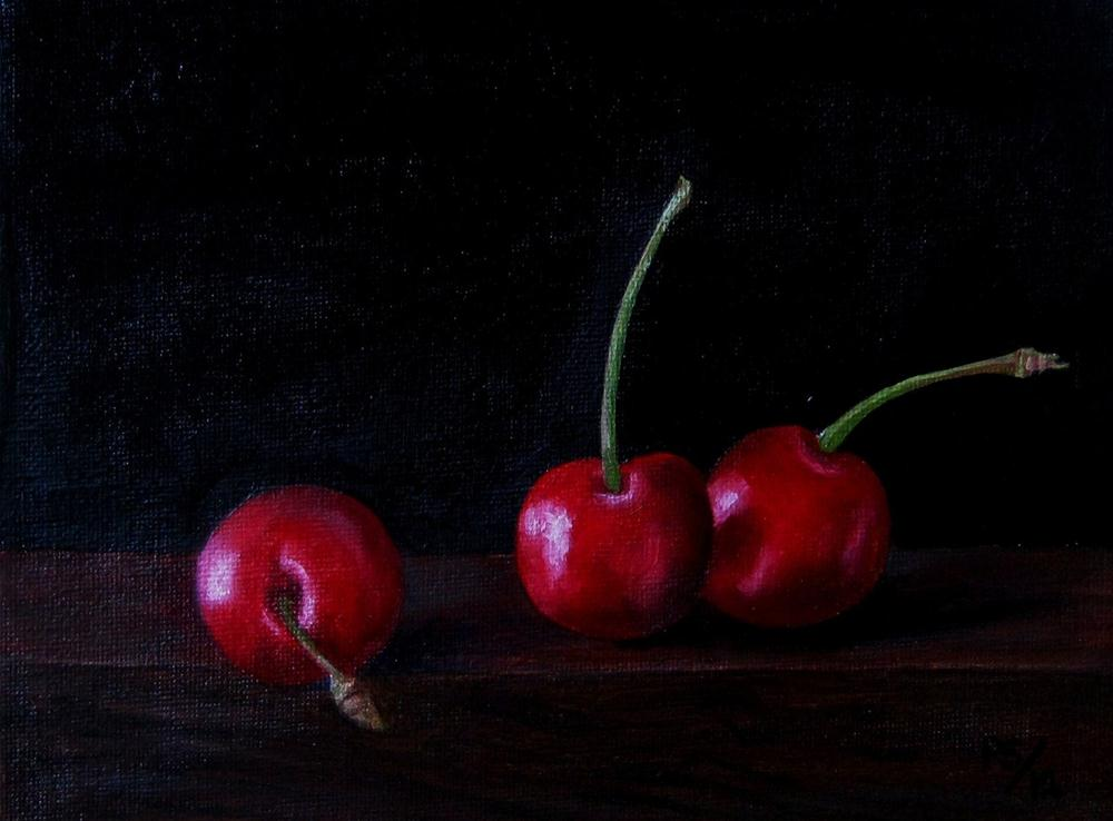 """Three Cherries"" original fine art by Pera Schillings"