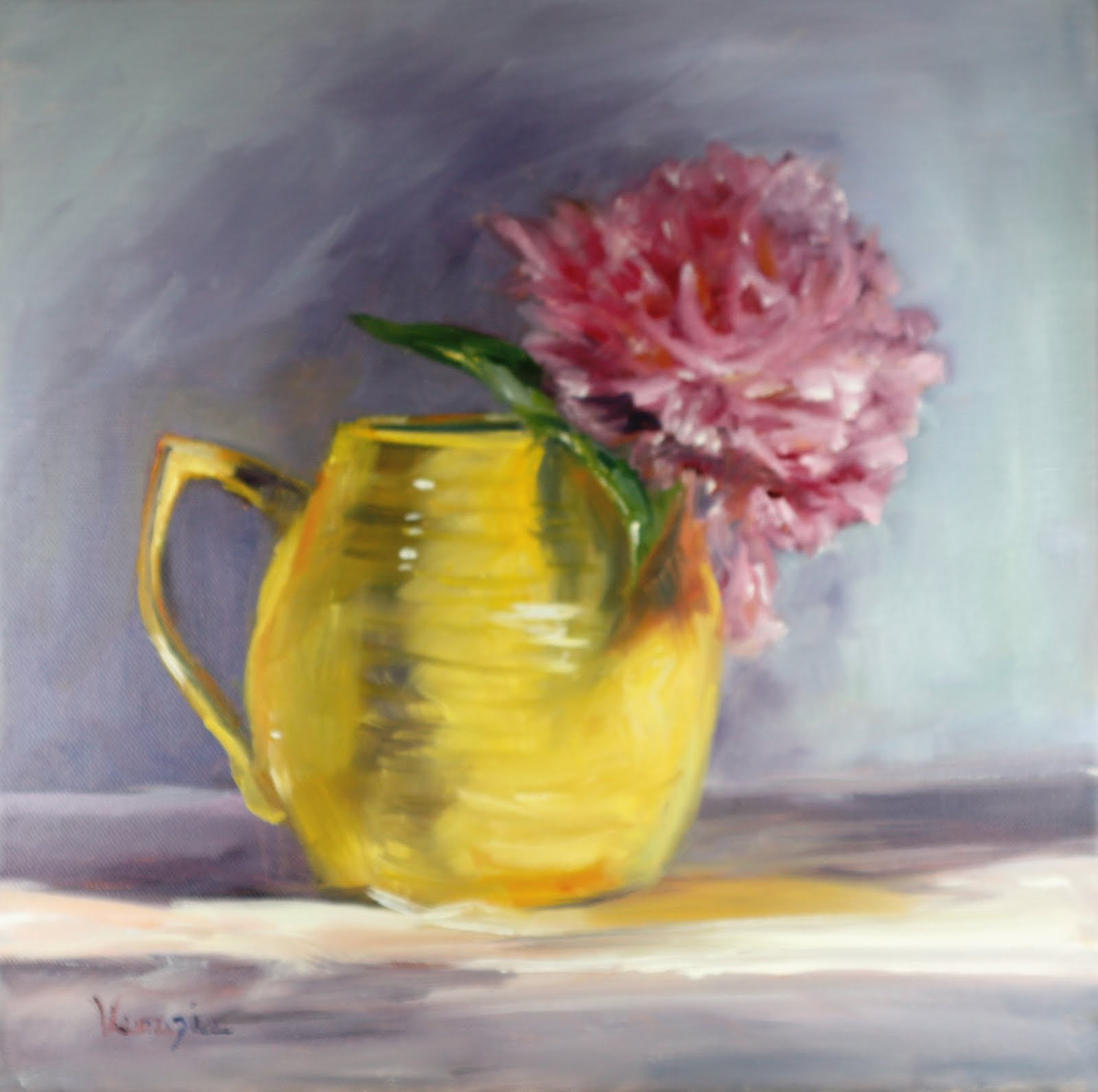 """oil painting still life with yellow pitcher and pink peony"" original fine art by Carrie Venezia"