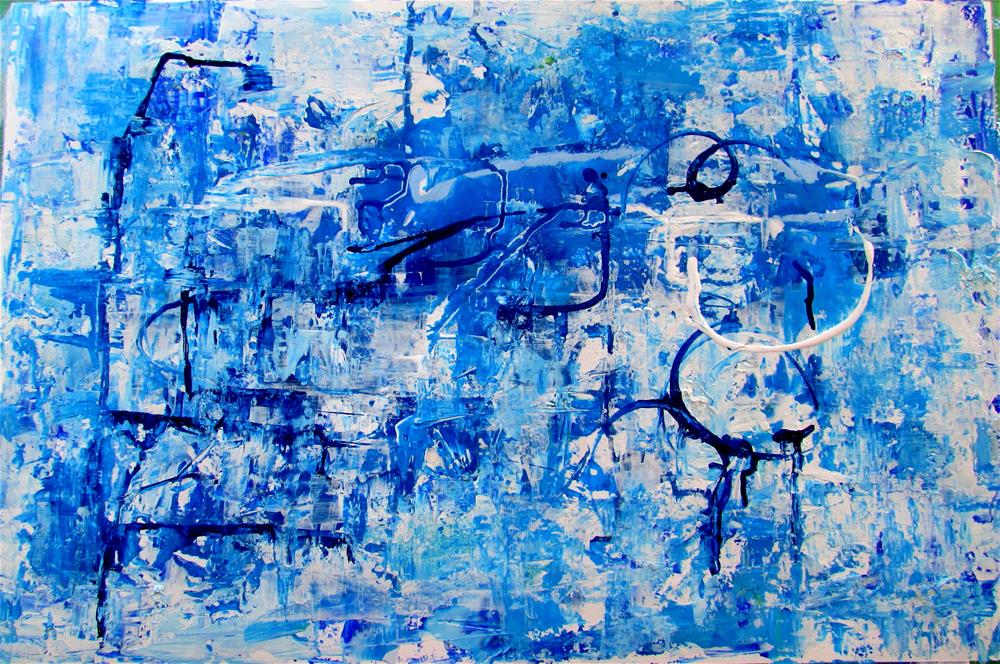 """17 x 26 inch oil Blue and White"" original fine art by Linda Yurgensen"