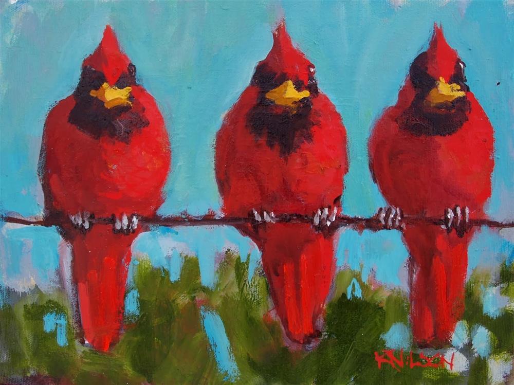 """Three Cardinals"" original fine art by Rick Nilson"