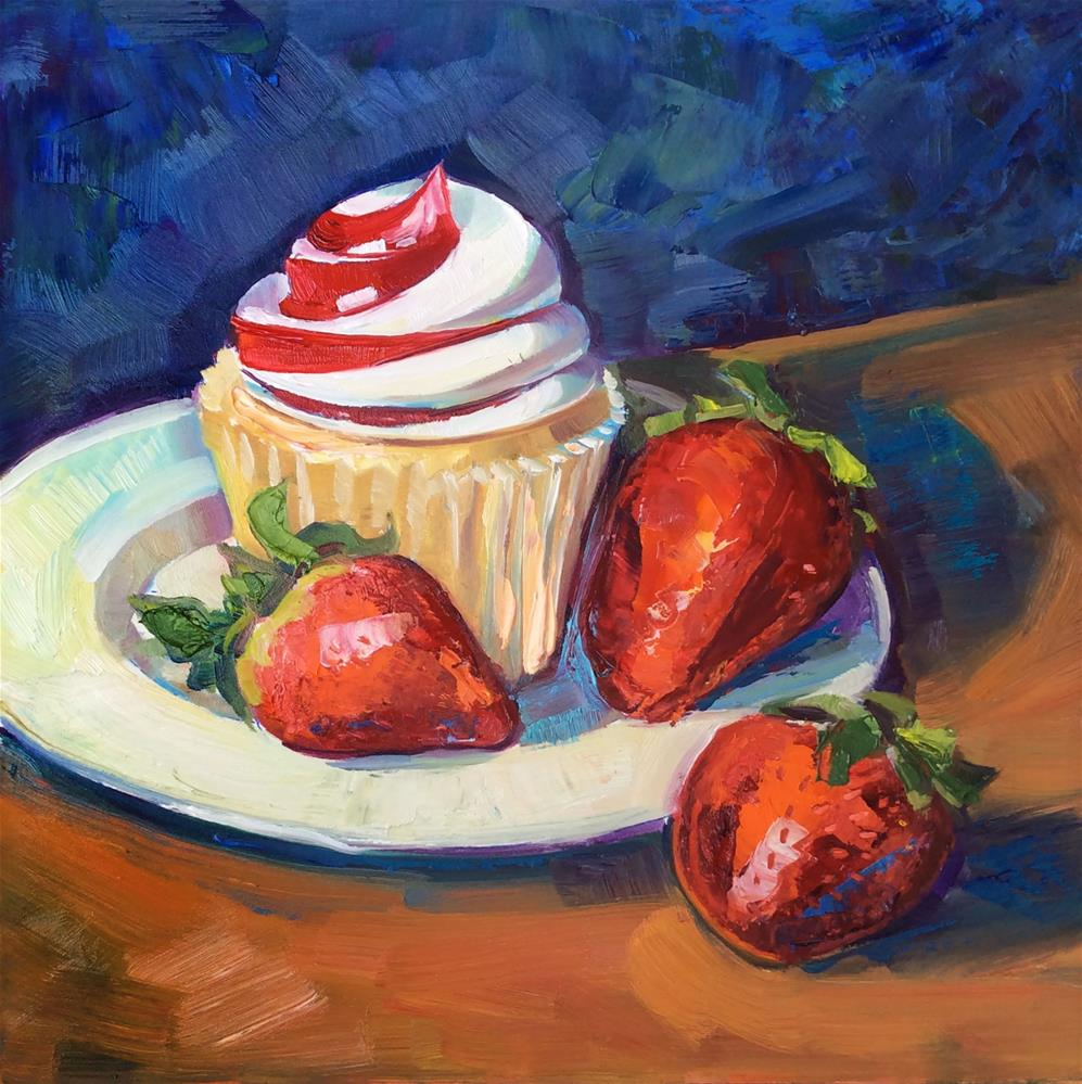 """Strawberry Swirl"" original fine art by Kathleen Gray Farthing"