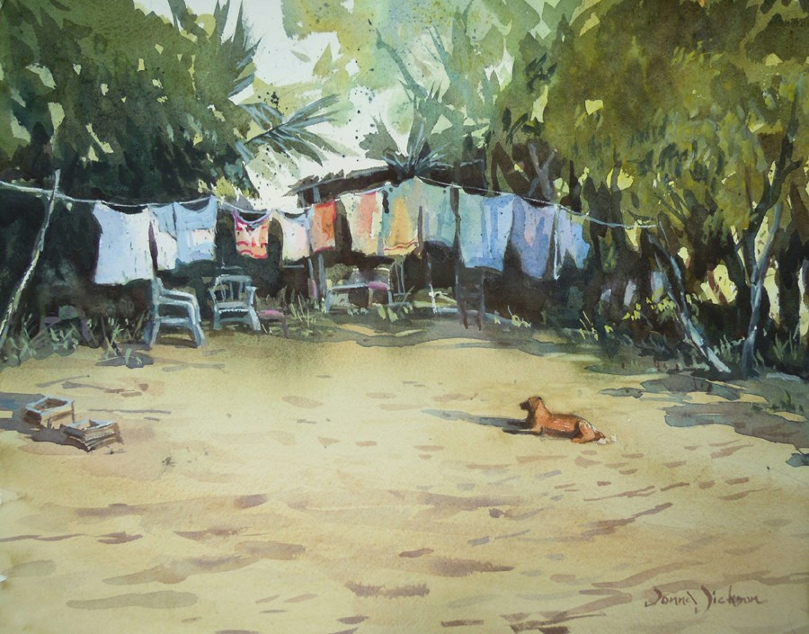 """BEACH CAMP"" original fine art by Donna Dickson"