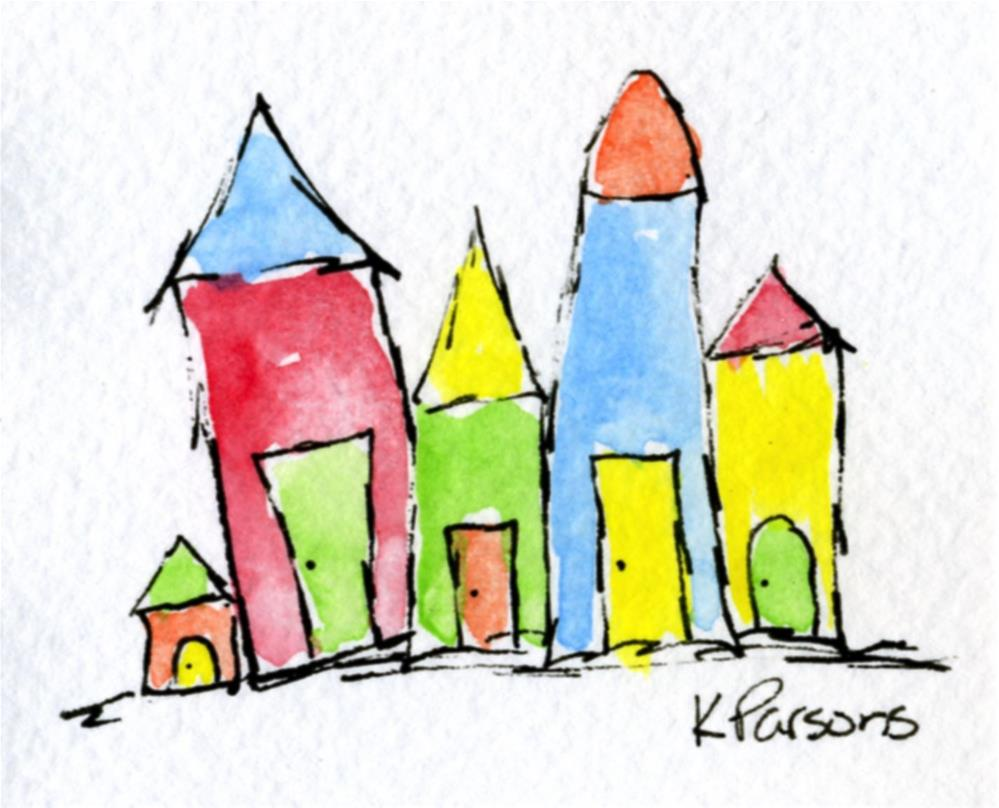 """Tiny Town"" original fine art by Kali Parsons"