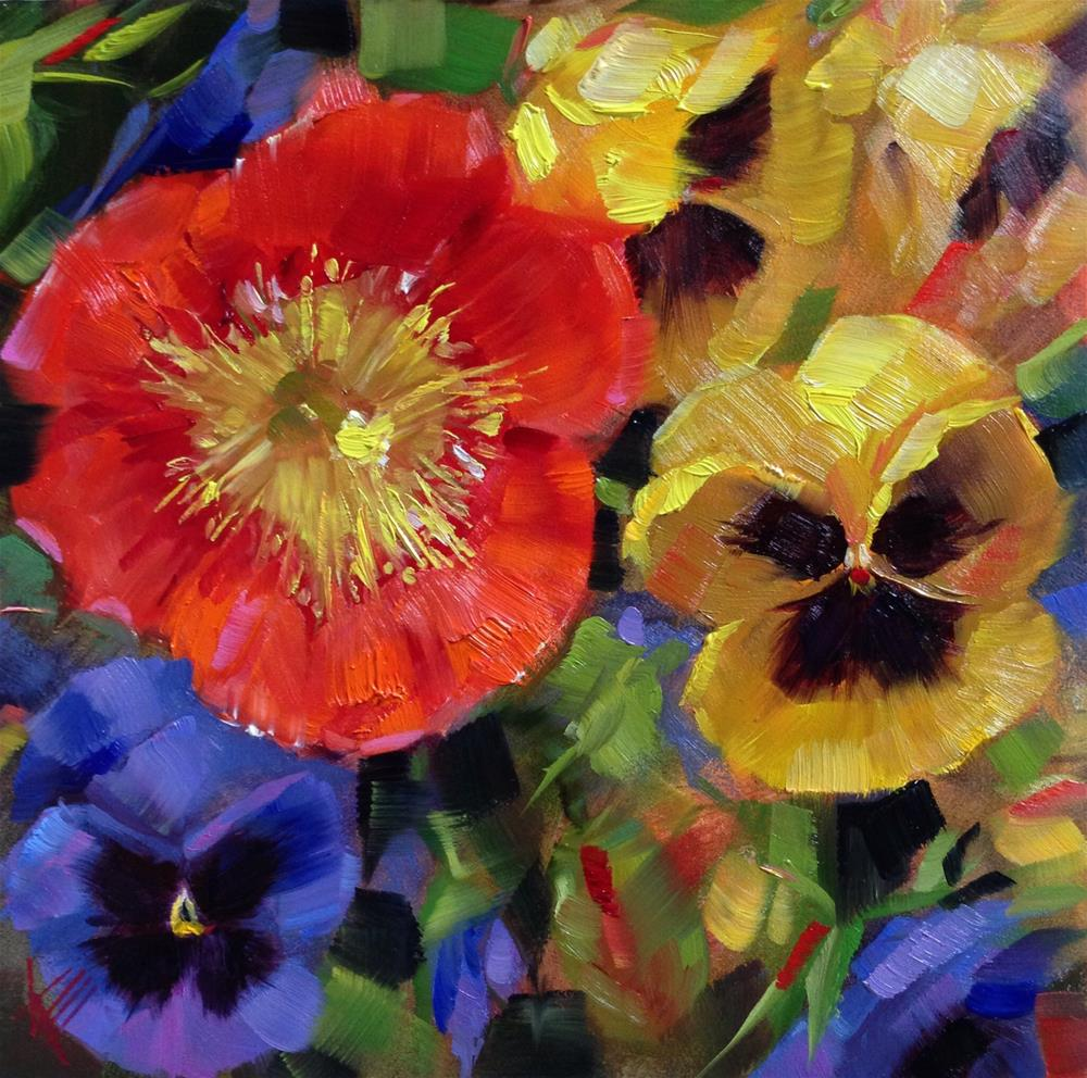 """Poppy and Pansies"" original fine art by Krista Eaton"