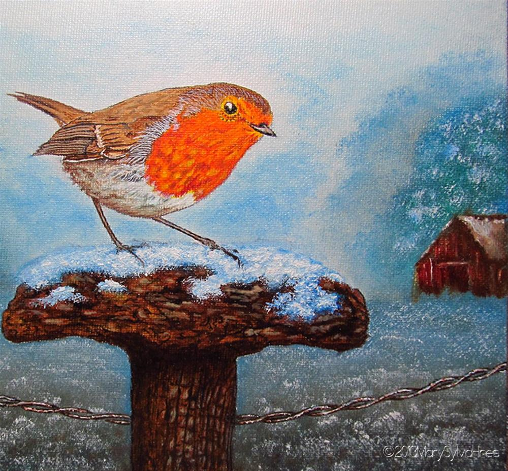 """Winter Robin"" original fine art by Mary Sylvia Hines"