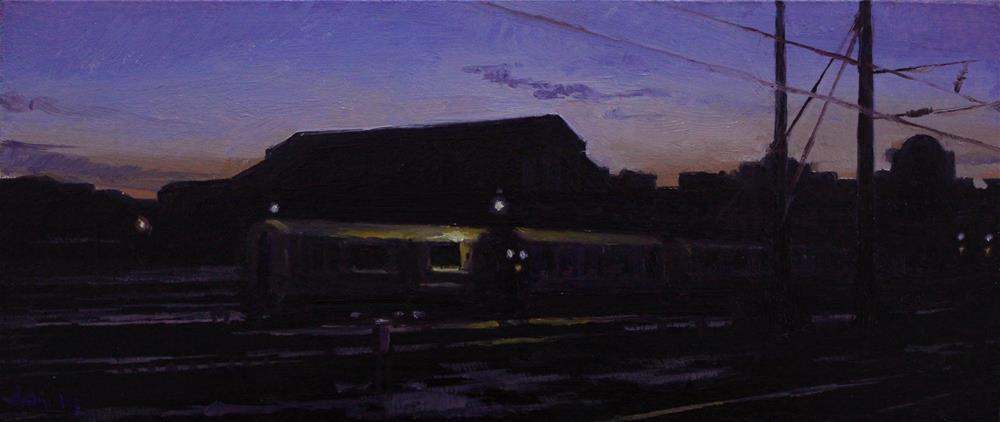 """Train Yard at Dusk"" original fine art by Ski Holm"