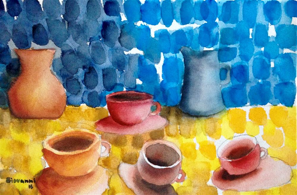 """Coffee cups of different color"" original fine art by Giovanni Antunez"