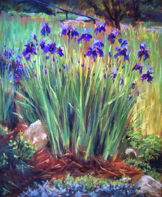 """Rainy Day Irises"" original fine art by Cindy Gillett"