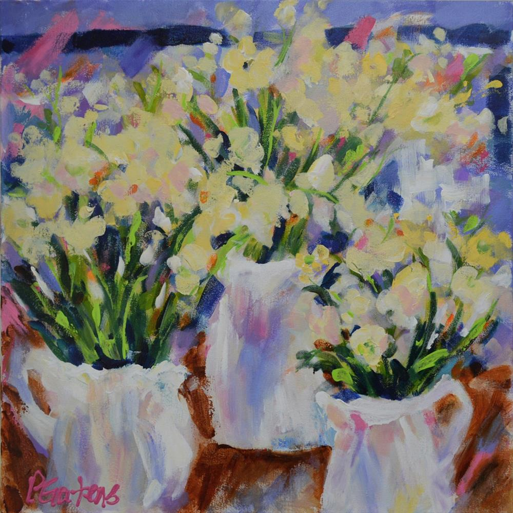 """Creamy White Lisianthus"" original fine art by Pamela Gatens"