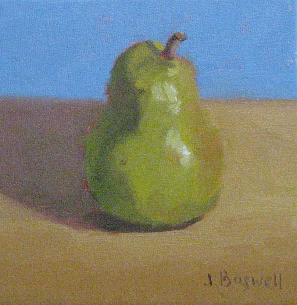 """A single Pear Series 1"" original fine art by Jennifer Boswell"