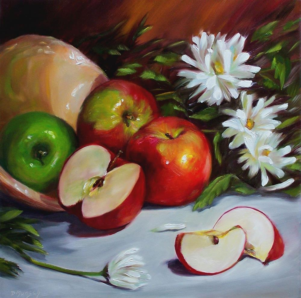 """Apples and Daisies"" original fine art by Donna Munsch"