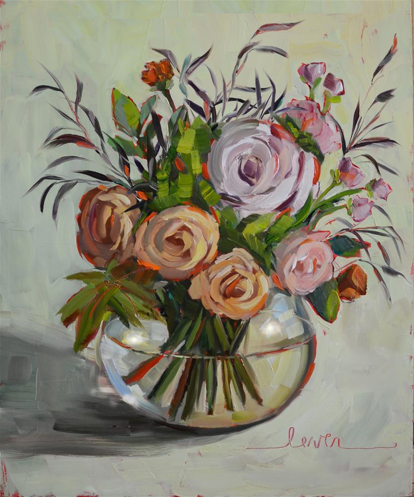 """Wedding Bouquet Flowers"" original fine art by Martha Lever"