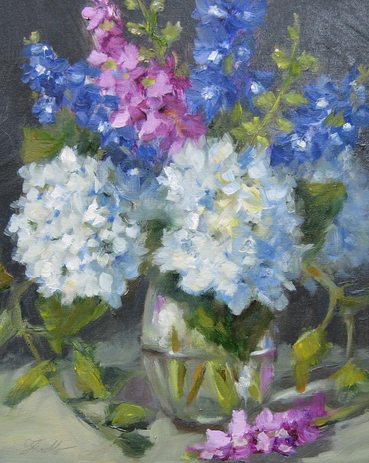 """""""Hydrangeas & Delphinium"""" original fine art by Pat Fiorello"""