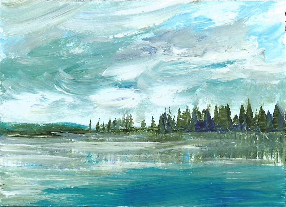 """6085 - TREE LINE LAKE with frame"" original fine art by Sea Dean"