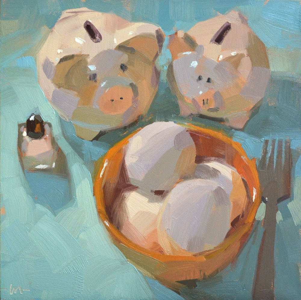 """Hungry, Hungry ... Pigs"" original fine art by Carol Marine"